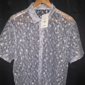 Men's Lace Button Up Short Sleeve